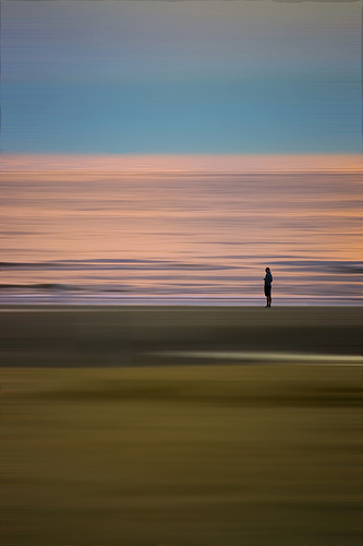 Lone Traveller Sunset Muse - by Tom Cuppens