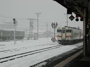 train in the snow