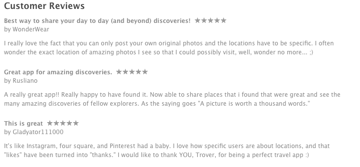trover app itunes review screenshot