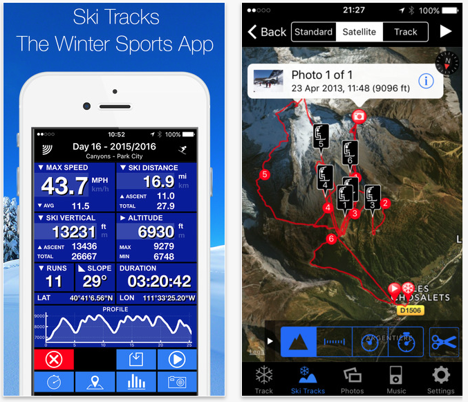 ski tracks app screenshots