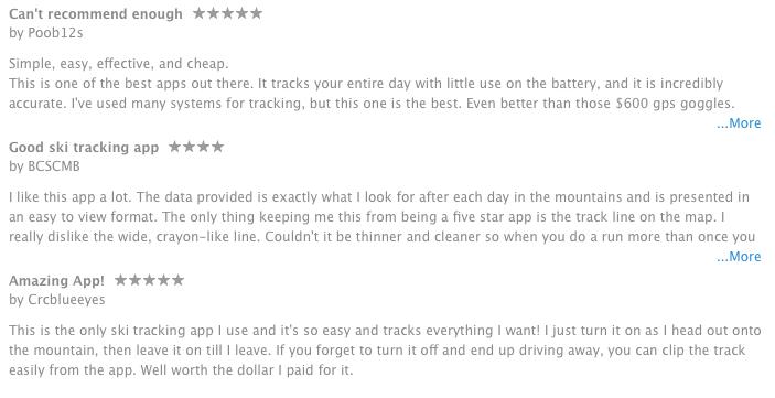 ski tracks app iTunes review