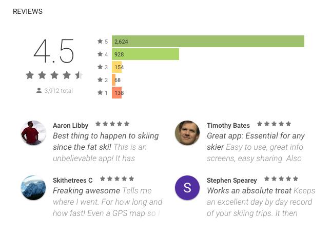 ski tracks app Google Play reviews